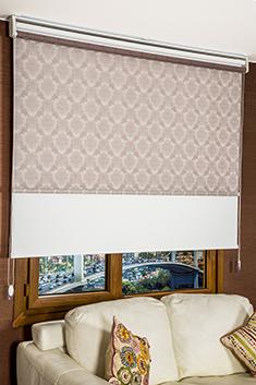 İkili Perde (Ön Mürdüm Kahve Damask Desenli Tentene Stor Perde Arka Beyaz Neo Classic Stor Perde)