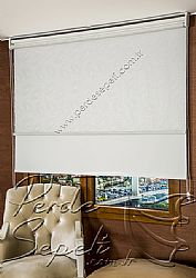 İkili Perde (Ön Nova Desenli Pizzo Stor Perde Arka Beyaz Neo Classic Stor Perde) - 1