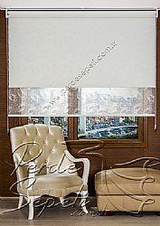 İkili Perde (Ön Nova Desenli Pizzo Stor Perde Arka Beyaz Neo Classic Stor Perde) - 3