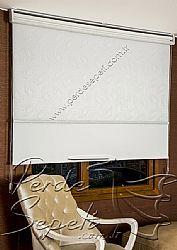 İkili Perde (Ön Nova Desenli Pizzo Stor Perde Arka Beyaz Neo Classic Stor Perde) - 4