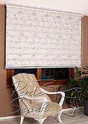 Kabartma Mavi Filiz Desenli Ekru Bonita Zebra Perde - 5