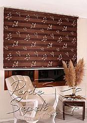 Kabartma Yaprak Desenli Kahve Calista Zebra Perde - 5