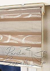 Kahve Üzerine Altın Geometrik Desenli Pileli Dias Serisi Zebra Perde - 6