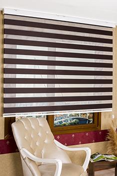 Kahverengi Lacivert Çizgili Eko Serisi Zebra Perde