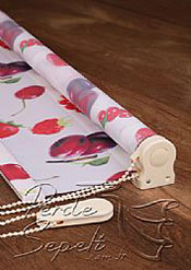 Kırmızı Meyveler Baskılı Klasik Stor Perde - 4