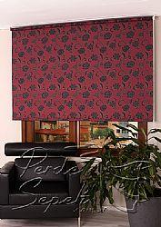 Kırmızı Üzerine Siyah Çiçek Desenli Mucize Serisi Stor Perde - 1