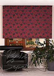 Kırmızı Üzerine Siyah Çiçek Desenli Mucize Serisi Stor Perde - 2