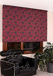 Kırmızı Üzerine Siyah Çiçek Desenli Mucize Serisi Stor Perde - 3
