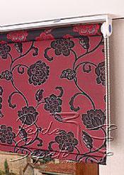 Kırmızı Üzerine Siyah Çiçek Desenli Mucize Serisi Stor Perde - 4