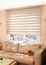 Krem 2 Renkli Simli Paradise Zebra Perde - 1