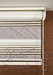 Krem Koyu Kahverengi Pileli Lotus Zebra Perde - 6