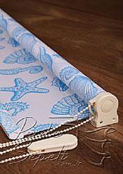 Mavi Deniz Kabukları Baskılı Klasik Stor Perde - 4