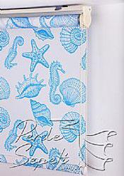 Mavi Deniz Kabukları Baskılı Klasik Stor Perde - 5