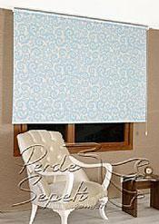 Mavi Desen Baskılı Klasik Stor Perde - 3