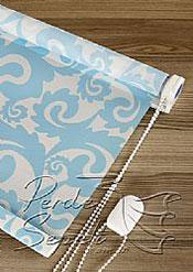 Mavi Desen Baskılı Klasik Stor Perde - 5