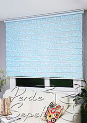 Mavi Desen Baskılı Zebra Perde - 4