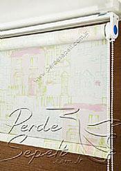 Pembe Evler Baskılı Klasik Stor Perde - 4