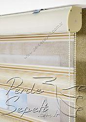 Promosyonel - 60x200 - Pliseli Gold Taçlı Zebra Perde - 1