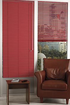 Promosyonel - 100x137 Kardinal Kırmızı Alüminyum Jaluzi 25mm Perde KOD:1700