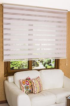 Promosyonel - 100x200 Pembe Beyaz Çizgili Dar Pileli VIP Ekonomik Zebra Perde KOD:1677
