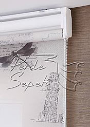 Promosyonel - 140x200 İkili Perde (Ön Postcard Tül Stor Perde Arka Beyaz Neo Classic Stor Perde) - 2