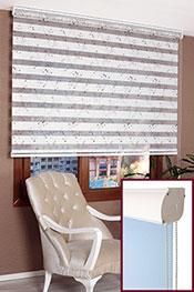 Promosyonel - 60x200 - Kabartma Mavi Filiz Desenli Ekru Bonita Taçlı Zebra Perde
