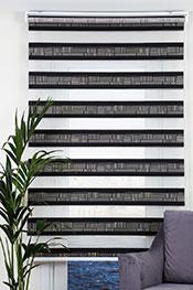Promosyonel - 115x240 Siyah Pileli Dia Zebra Perde -