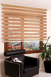 Promosyonel - 140 x 200 Kırçıllı Kahve Bamboo Zebra Perde KOD:928
