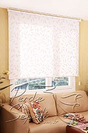 Promosyonel - 180x200 Gri Yaprak Floral Beyaz Stor Perde -