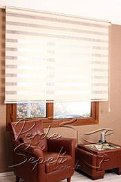 Promosyonel - 185x200 Kırçıllı Krem Panorama Zebra Perde -