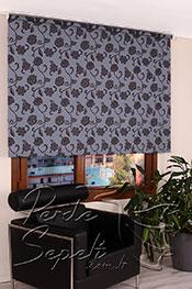 Promosyonel - 185x200 Mavi Üzerine Siyah Çiçek Desenli Mucize Serisi Stor Perde -