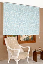 Promosyonel 185.200 Mavi Desen Bask�l� Klasik Stor Perde