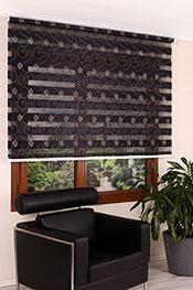 Promosyonel 185x200 Kabartma Çiçek Desenli Siyah Bonita Zebra Perde -