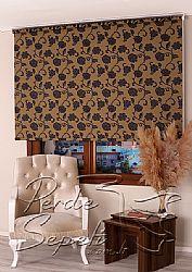Sarı Üzerine Siyah Çiçek Desenli Mucize Serisi Stor Perde - 1