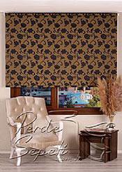 Sarı Üzerine Siyah Çiçek Desenli Mucize Serisi Stor Perde - 2