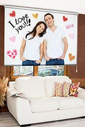 Sevgililer Günü Kişiye Özel Dijital Baskılı Stor Perde