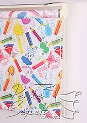 Renkli Kalemler Baskılı Klasik Stor Perde - 5