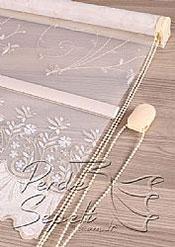 Simli Altın Krem Çiçek Etek Dilimli Stella Tül Stor Perde - 5