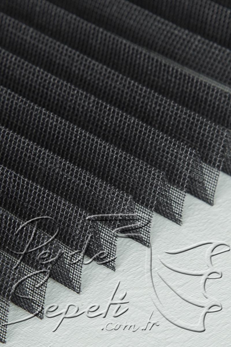 Siyah Kircilli Seri Tul 14mm Cam Balkon Plise Perde Plise Perde