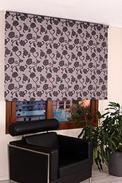 Gri Üzerine Siyah Çiçek Desenli Mucize Serisi Stor Perde