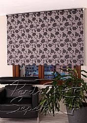 Gri Üzerine Siyah Çiçek Desenli Mucize Serisi Stor Perde - 1