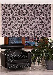 Gri Üzerine Siyah Çiçek Desenli Mucize Serisi Stor Perde - 2