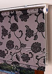 Gri Üzerine Siyah Çiçek Desenli Mucize Serisi Stor Perde - 4