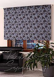Mavi Üzerine Siyah Çiçek Desenli Mucize Serisi Stor Perde - 1