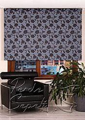 Mavi Üzerine Siyah Çiçek Desenli Mucize Serisi Stor Perde - 2