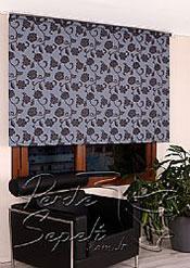 Mavi Üzerine Siyah Çiçek Desenli Mucize Serisi Stor Perde - 3