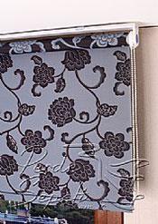Mavi Üzerine Siyah Çiçek Desenli Mucize Serisi Stor Perde - 4