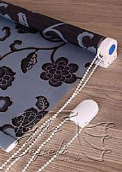 Mavi Üzerine Siyah Çiçek Desenli Mucize Serisi Stor Perde - 5
